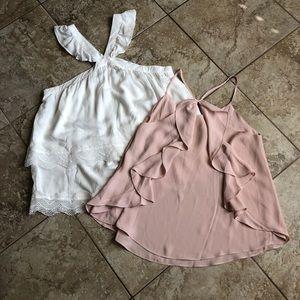 Bundle 2 junior ruffle tops shirts white blush